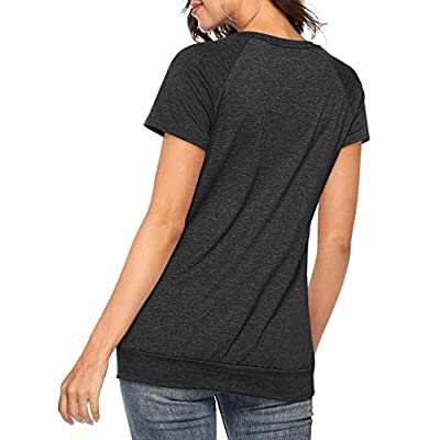 Defal Womens Summer Short Sleeve Round Neck Quick Dry Cool Tunic Tops Loose Gym Workout T-Shirt with Pockets: Clothing