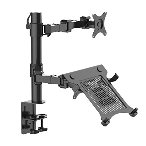 FLEXIMOUNTS 2 in 1 Full Motion Dual Arm LCD Desk Mount Stand Fits 10'-30' Computer Monitor (D1DL)
