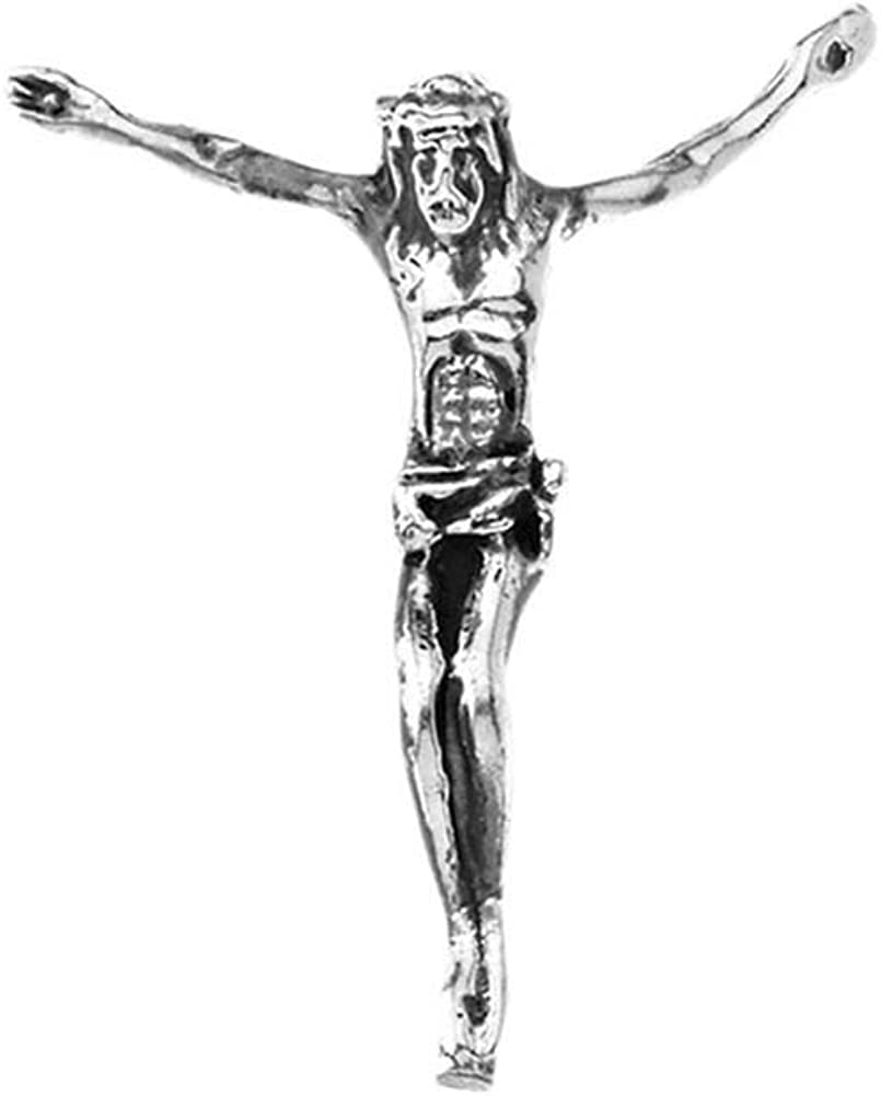 Elegant Oxidized Sterling Silver Crucified Jesus Pendant Necklace with Hidden Bail 1.2