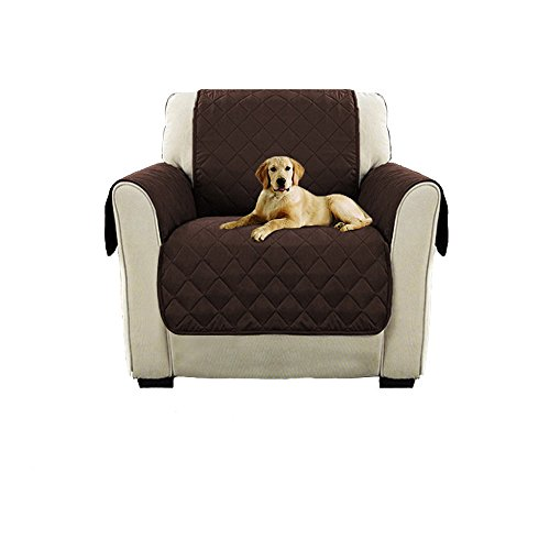 1 Seater Sofa - WATTA Anti-Slip Chair 1 Seater Reversible Slipcovers Brown Fabric for Pet Dog Couch Covers Protectors
