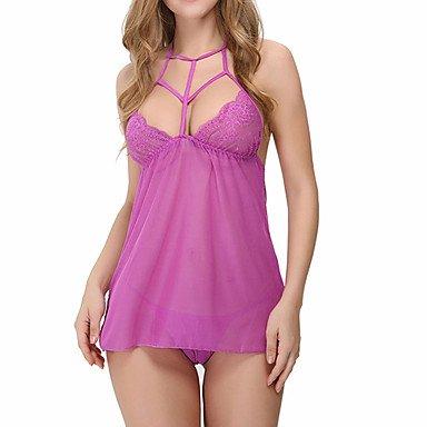 MENRY Ultra Sexy Vêtement de nuit Femme, Col en V Couleur Pleine - Moyen Polyester Noir Violet Vin , xl
