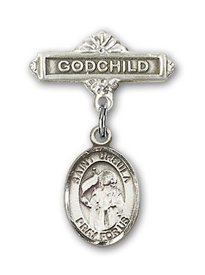 ReligiousObsession's Sterling Silver Baby Badge with St. Ursula Charm and Godchild Badge Pin (Metal Ursula)