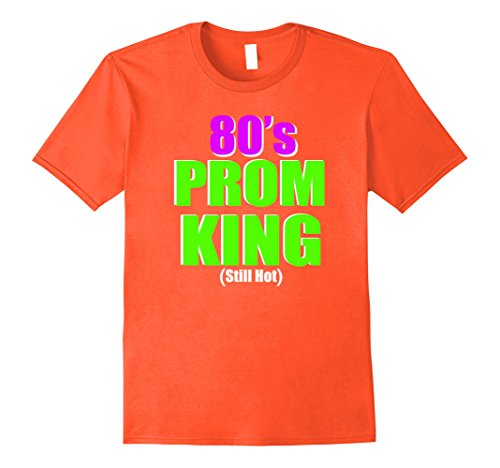 [Men's 80's Prom King Still Hot Eighties Neon Party Shirt Costume Large Orange] (80s Prom King And Queen Costume)