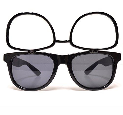 GloFX Flip Up Rave Sunglasses + Diffraction - Black