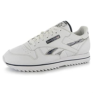 105fe979529 Reebok Mens Classic Leather Etched Ripple III Trainers Sports Shoes Footwear  White BlueCadet UK 11.5(46)  Amazon.co.uk  Shoes   Bags
