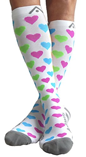 8aa992fc4c ... Small A-Swift Compression Socks for Women & Men - Bright Hearts, ...
