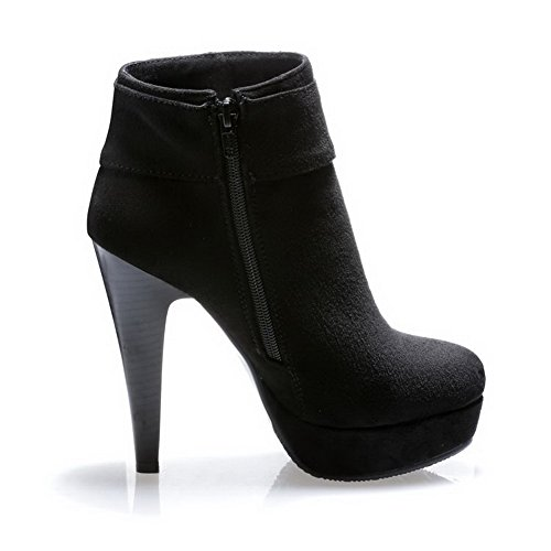 With Stiletto AmoonyFashion and Toe Stilettos Womens Sole Black Toe Shoes Round Boots Closed Slipping Spikes xqPwf8Znq7
