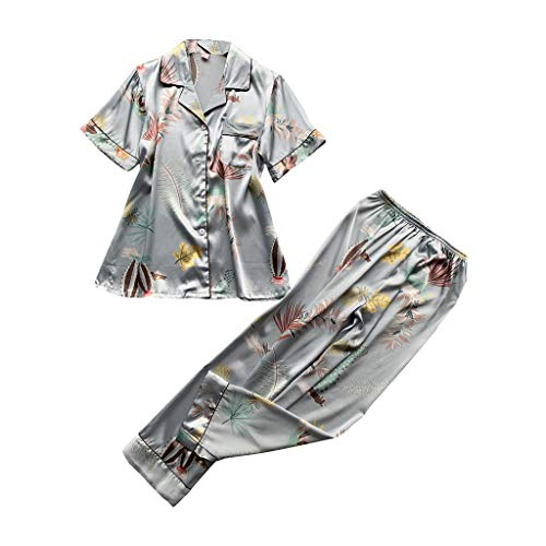 (Dreamyth-sets 2PC Women Simulation Silk Print Pajamas Sleepwear Long Trousers Nightwear Set (Gray, L))