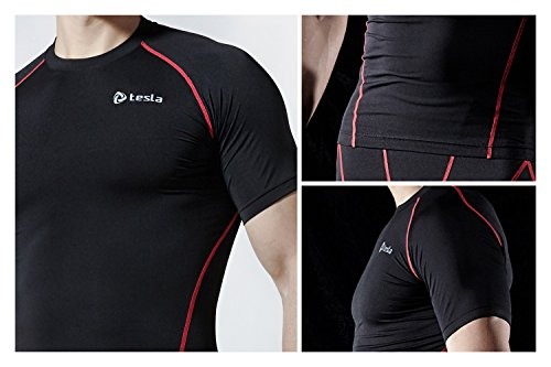 Tesla Men's Cool Dry Compression Baselayer Short Sleeve T Shirts MUB13 / MUB03