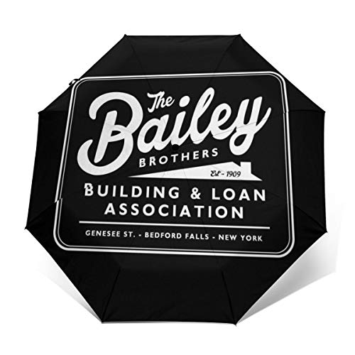 Its A Wonderful Life Baileys Brothers Building And Loans Association Windproof Compact Auto Open And Close Folding Umbrella,Automatic Foldable Travel Parasol Umbrella