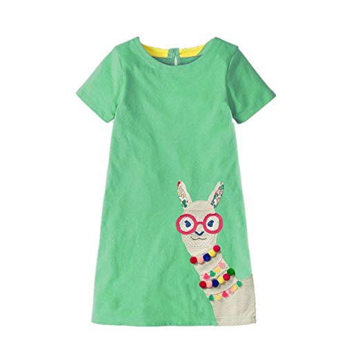 Easter Dress Little Girl Animal Applique Tunic Green Organic Cotton Casual Spring Summer Dress Short -