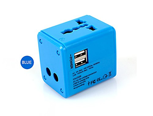 Price comparison product image Travel Adapter,Airsspu Universal All in One Worldwide Travel Power Plug Wall AC Adapter Charger with Dual USB Charging Ports for US/EU/UK/AU (Blue)