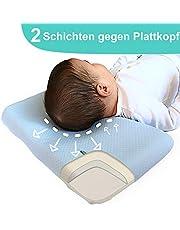 ANURI® | Babykissen gegen Plattkopf und Kopfverformung I 2-SCHICHTEN Protect System | Baby-Kopfkissen aus Anti-Allergen Memory Schaum | 0-24 Monate | 2 Kopfkissenbezüge