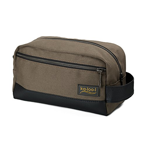 """Price comparison product image Toiletry Bag for Men: Canvas Dopp Kit for Travel, Gym, Grooming & Shaving, Waterproof Lining, 10"""" x 4.5"""" x 5.5"""", Olive Green with Vegan Leather Trim, Comes with Bonus Pumice Stone & Gift Box by Kalooi"""