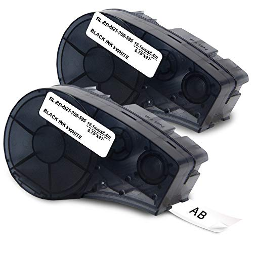 - Topcolor 0.75' BMP21 Tape M21-750-595-WT 19.1mm x 6.4m Replacement for Brady B-595 High Adhesion Black on White Indoor/Outdoor Vinyl Film Label, Work for Brady IDPAL, LABPAL Printer, 3/4' x 21'