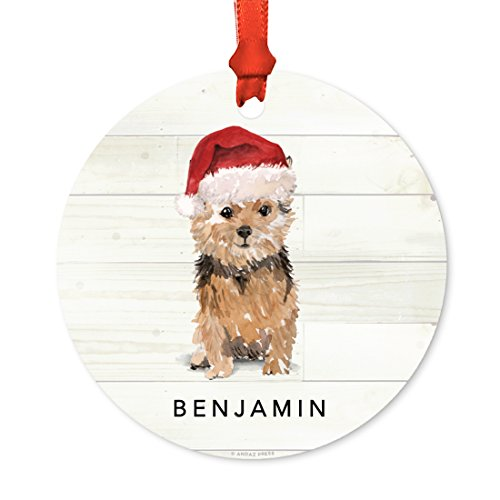 (Andaz Press Personalized Animal Pet Dog Metal Christmas Ornament, Norfolk Terrier with Santa Hat, 1-Pack, Includes Ribbon and Gift Bag, Custom Name)