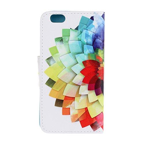 Caja de Teléfono para Apple iPhone 6 Plus (5.5 pulgadas) Funda LuckyW Casa Flip Folio Funda Bookstyle Funda Flexible Ligera Duradera con Función de Soporte Ranuras de Tarjeta Soporte de Identificación Flor