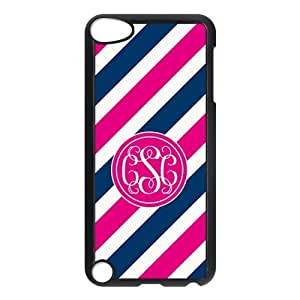 Customized Case for IPod touch5 Pink Circle Monograms Tilt Pink and Blue Stripes with Best Plastic Black ALL MY DREAMS