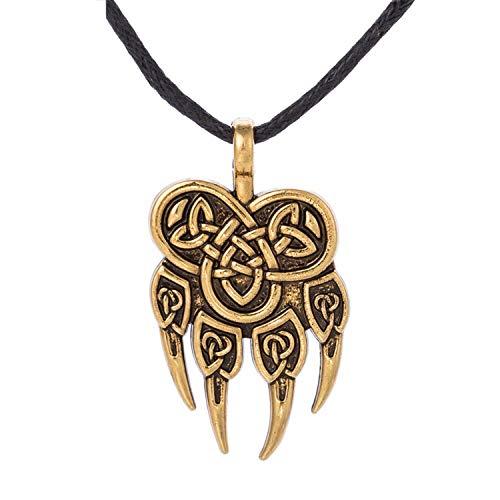 (Viking Wolf Claws Pendant Necklaces Pendants Men Nordic Runes Viking Choker Bear Paw Charm Women Antique Gold)