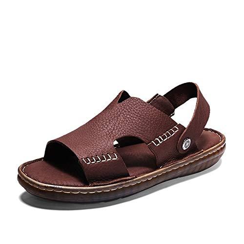 Marron 44 EU Chaussures à bout ouvert en cuir décontracté pour hommes à la mode pour hommes Chaussures Slipper Slip on Style OX en cuir Semelle en caoutchouc souple à double usage Couleurs unies Chaussures confort