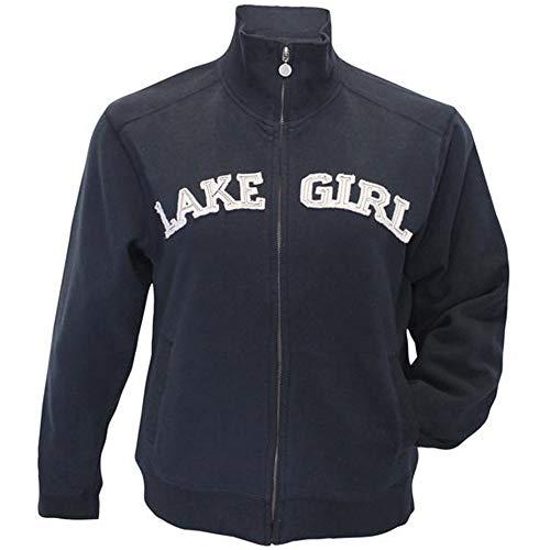 LAKEGIRL Full Zip Classic Track Jacket Sweatshirt (Large, Lt Navy)