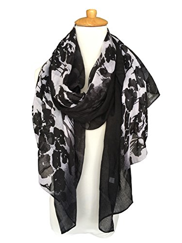 GERINLY Women's Scarves: Ink Painting Morning Glory Print Oblong Wrap Scarf