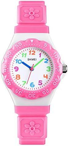 ガールズウォッチ フラワーダイヤモンド 簡単使用 読みやすい アナログクォーツ腕時計 子供用 ピンク