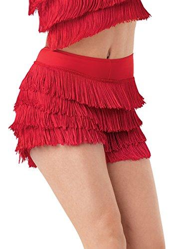 (Balera Dance Shorts with Fringe Accent Red Child Medium)