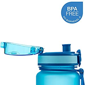 Best Sports Water Bottle - 32oz Large - Fast Flow, Flip Top Leak Proof Lid w/ One Click Open - Non-Toxic BPA Free & Eco-Friendly Tritan Co-Polyester Plastic (BLUE)