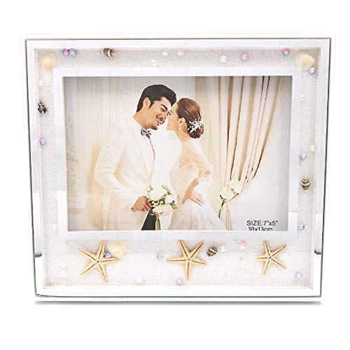 - Abbie Home Wedding Picture Frame 8x10 White - Starfish Pearls Decorated Photo Frame Gift for New Couple