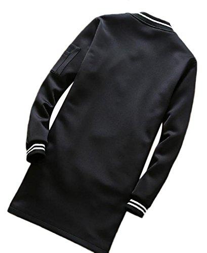 up Coats Black Color Pure Front Stand Mid Men's Jacket Long Zip Collar RkBaoye PxwpTSIq7n