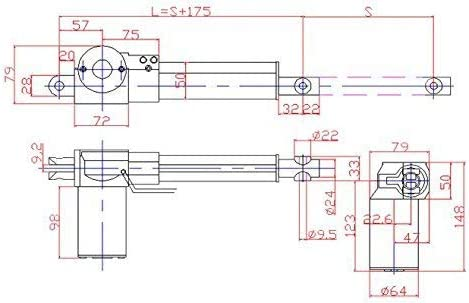 Yadianna WD-A-4 Series Linear actuator motor Motorized Faders Linear Motor Stroke 150mm 12//24VDC 6000N
