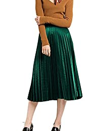 Women's Vintage Velvet Pleated High Waist Midi Calf A-line Skirt