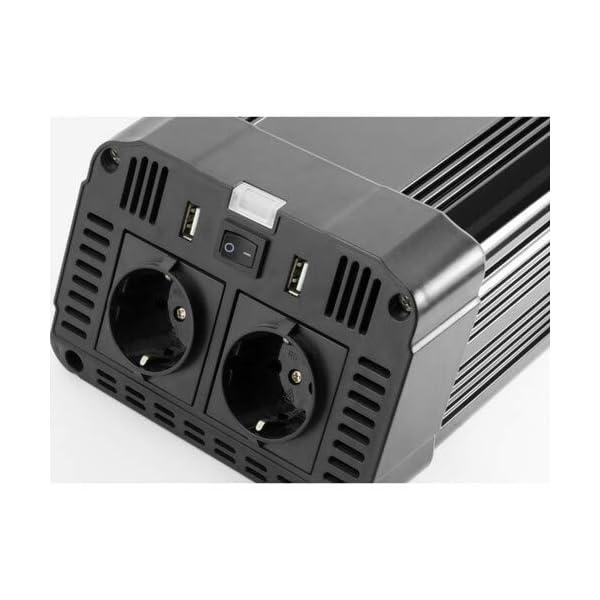 418DXM4 vjL Technaxx KFZ Wechselrichter mit LC-Display 12V auf 230V - Auto Inverter mit 2X Schuko-Stecker und 2X USB-Port - Power…