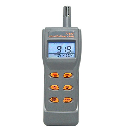Quality Indoor Carbon Air Monoxide (AZ 77597 Air Quality Monitor Handheld Digital 6 in 1 CO2 CO Temperature Humidity DP WB Air Quality Meter)