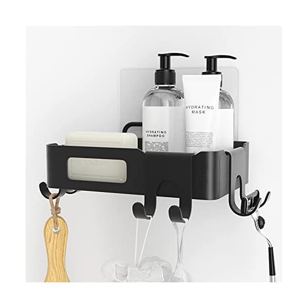 418DXW955CS Duschkorb Duschregal schwarz Duschablage ohne Bohren, selbstklebend mit Haken aus Edelstahl Metall als Duschhalterung…