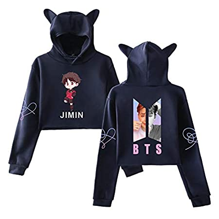 DHSPKN BTS Cartoon Hoodie Love Yourself Crop Top Jacket Jungkook Jimin Suga V Members Photo Cat Ear Sweatshirt