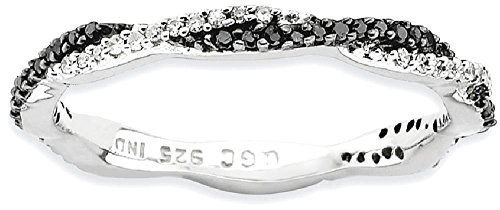 ICE CARATS 925 Sterling Silver Black/white Diamond Band Ring Size 9.00 Stackable Fancy Black White Fine Jewelry Gift Set For Women Heart by ICE CARATS