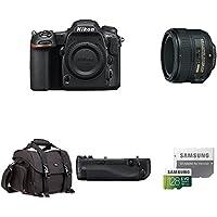 Nikon D500 DX-Format Digital SLR Body w/ Portrait and Prime Lens and Deluxe Battery Grip Bundle