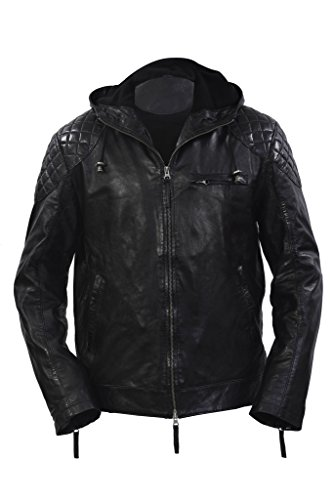Men's Retro Biker 100% Black Nappa Leather Short Slim Fit Jacket 5XL