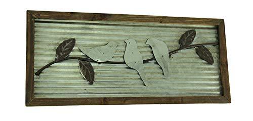 Things2Die4 Rustic Birds On a Branch Wood Framed Metal Wall Hanging ()