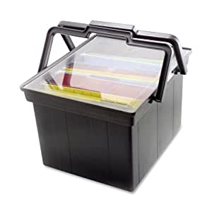 ADVANTUS Companion Letter/Legal Portable Plastic File Box, Includes Lid and Handles, 17 x 14 x 11 Inches, Black (TLF-2B)