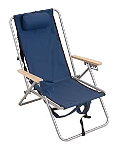 High Back Steel Backpack Beach Chair by WearEver - Blue