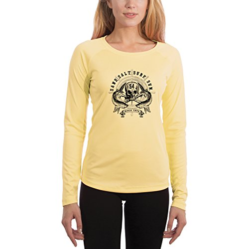 SAND.SALT.SURF.SUN. Captains Wheel Women's UPF 50+ Long Sleeve T-Shirt X-Large Pale Yellow Captain Yellow T-shirt