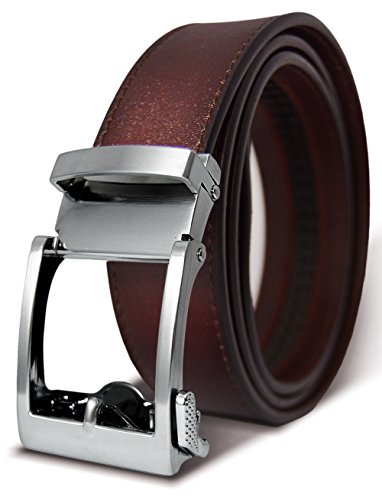 Classic Men's Leather Ratchet Click Belt - Brushed Silver Buckle w/ Matte Finish Brown Leather Belt (Trim to Fit: Up to 45'' Waist)