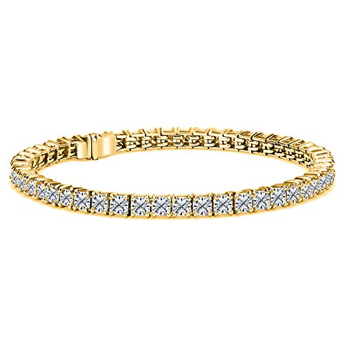 14K Gold Over Sterling Silver Princess Shape Cubic Zirconia Tennis Bracelet In 7