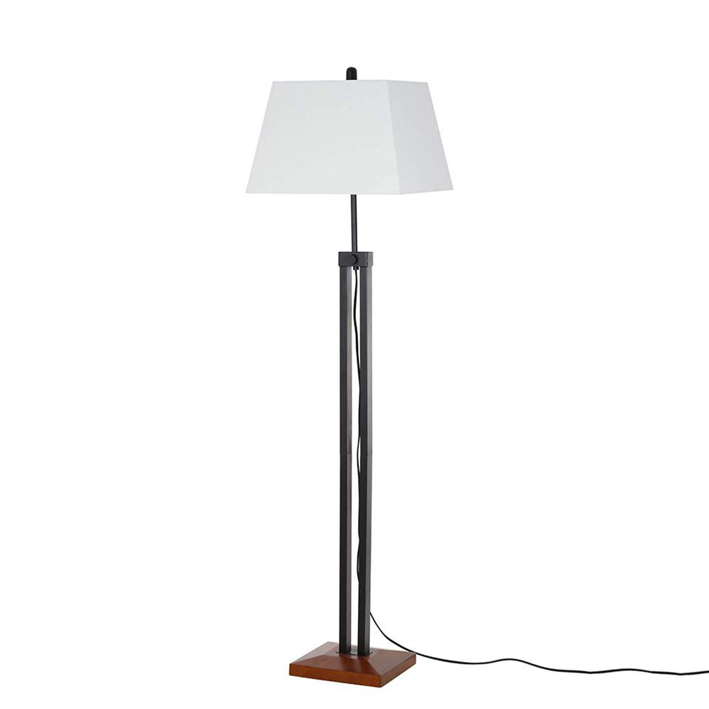 "Stone & Beam Modern Farmhouse Wood Adjustable Floor Lamp, 66.25"" H, WithBulb, White Shade"