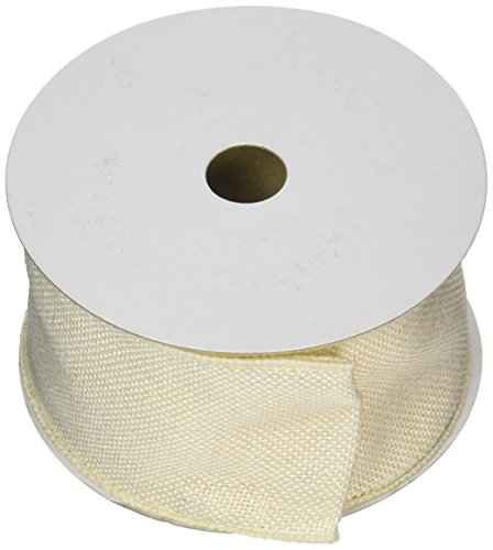 Wired Faux Burlap Ribbon, 2.5-Inch by 10-Yard, Ivory