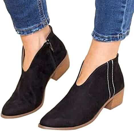 29064ada09d2 Syellowafter Womens Ankle Boots Chunky Heel Cut Out Pointed Toe Western  Shoes