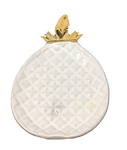 - DII White and Gold Pineapple Shaped Ceramic Plate for Jewelry Ring Dish Tray Organizer, Snack Bread Sugar Dessert Serving Platter (Small)